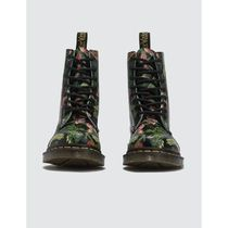 Dr Martens Flower Patterns Round Toe Rubber Sole Boots Boots