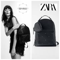 ZARA Casual Style Faux Fur Studded Backpacks