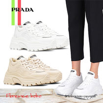 PRADA Round Toe Rubber Sole Lace-up Casual Style Plain Leather
