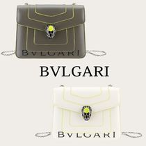 Bvlgari Casual Style Collaboration Plain Leather Shoulder Bags