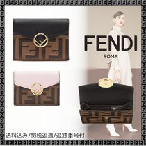 FENDI F IS FENDI Unisex Calfskin Plain Khaki Bold Folding Wallets