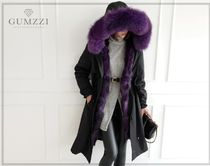 gumzzi Casual Style Fur Blended Fabrics Street Style Medium Long