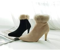 gumzzi Casual Style Fur Blended Fabrics Plain Pin Heels Party Style