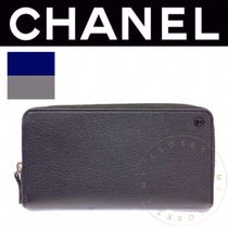 CHANEL ICON Unisex Street Style Plain Leather Handmade Long Wallets