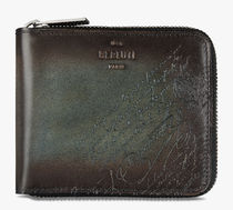 Berluti Calfskin Plain Leather Folding Wallet Logo Folding Wallets
