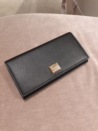 Unisex Plain Leather Long Wallets