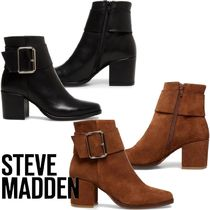Steve Madden Casual Style Suede Plain Leather Block Heels Office Style