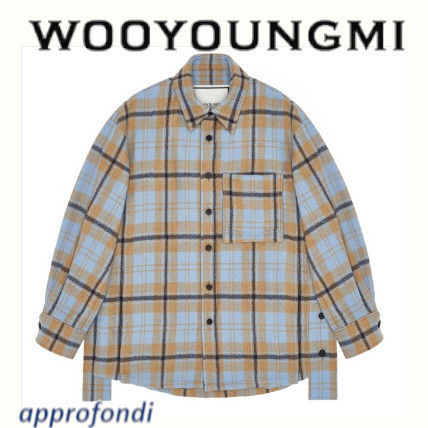 Other Check Patterns Wool Long Sleeves Shirts