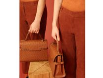 DELVAUX Ostrich Leather 2WAY Plain Party Style Office Style