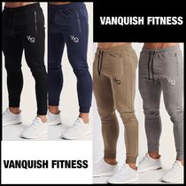 VANQUISH FITNESS Tapered Pants Sweat Street Style Plain Cotton Khaki