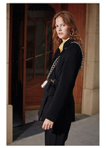 Stand Collar Coats Casual Style Wool Blended Fabrics Tassel