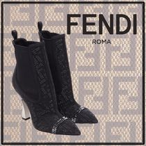 FENDI Monogram With Jewels Elegant Style Ankle & Booties Boots