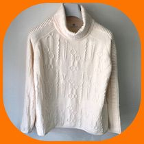 HERMES Cable Knit Wool Long Sleeves Medium Puff Sleeves Turtlenecks