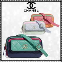 CHANEL Casual Style 3WAY Chain Plain Leather Shoulder Bags