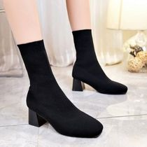 Plain Toe Round Toe Casual Style Plain Block Heels