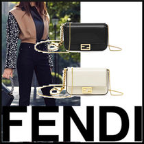 FENDI Lambskin Street Style Leather Party Bags