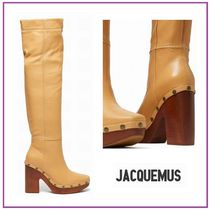 JACQUEMUS Rubber Sole Studded Leather Block Heels Chunky Heels