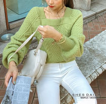 Cable Knit Casual Style Wool Nylon Dolman Sleeves