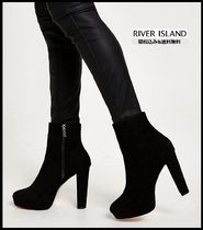 River Island Casual Style Faux Fur Plain Block Heels