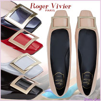 Roger Vivier Square Toe Casual Style Plain Leather Office Style