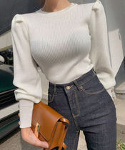Crew Neck Casual Style Rib Puffed Sleeves Halter Neck