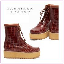 GABRIELA HEARST Platform Rubber Sole Lace-up Leather Lace-up Boots