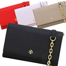 Tory Burch 2WAY Plain Leather Crossbody Shoulder Bags