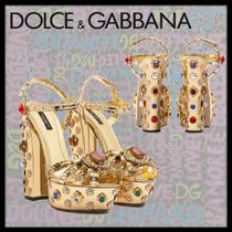 Dolce & Gabbana Open Toe Blended Fabrics Block Heels Party Style With Jewels