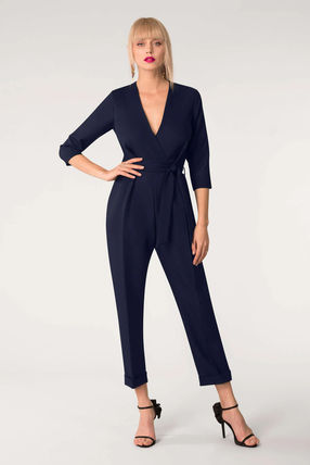 Dungarees V-Neck Cropped Plain Long Party Style Office Style