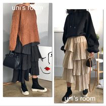 Flared Skirts Casual Style Plain Long Office Style
