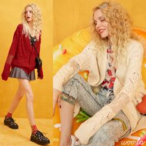 ELF SACK Cable Knit Casual Style Blended Fabrics Street Style