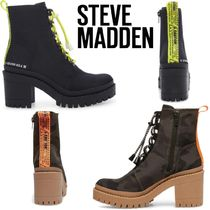 Steve Madden Camouflage Platform Lace-up Casual Style Plain Lace-up Boots