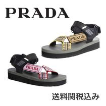 PRADA Open Toe Round Toe Rubber Sole Blended Fabrics Plain Leather