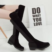Plain Toe Round Toe Casual Style Suede Plain Wedge Boots