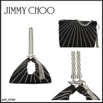 Jimmy Choo Suede Chain Plain Party Style Purses Elegant Style Clutches