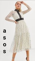 ASOS Dots A-line Chiffon Flared Long Sleeves Medium Party Style