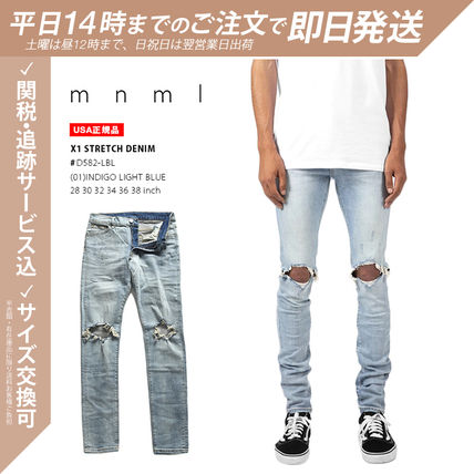 MNML More Jeans Unisex Denim Street Style Plain Cotton Jeans