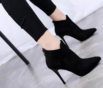 Plain Toe Suede Plain Pin Heels High Heel Boots