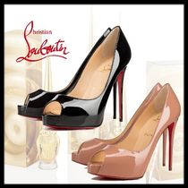 Christian Louboutin Open Toe Platform Plain Leather Pin Heels