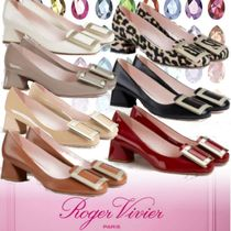 Roger Vivier Square Toe Casual Style Plain Leather Party Style