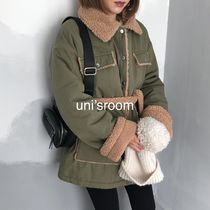 Short Casual Style Bi-color Plain Medium Parkas