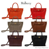 Mulberry Bayswater Casual Style Calfskin Blended Fabrics 2WAY Plain Leather