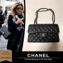 CHANEL ICON Casual Style Unisex Blended Fabrics 2WAY Chain Plain Leather