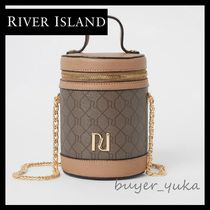 River Island Monogram Casual Style Faux Fur Vanity Bags 2WAY Chain