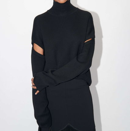 Casual Style Wool Long Sleeves Plain Party Style