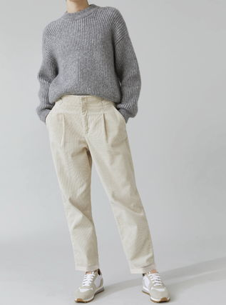 Casual Style Corduroy Plain Long Office Style Pants