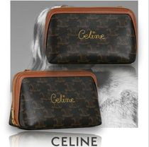 CELINE Triomphe Casual Style Lambskin Blended Fabrics 2WAY Party Style