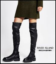 River Island Casual Style Faux Fur Plain Chunky Heels Over-the-Knee Boots