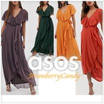 ASOS Crew Neck Flared Long Short Sleeves Party Style