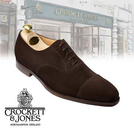 Suede Blended Fabrics Plain Leather U Tips Oxfords